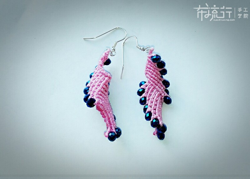 13.基础结+珠子运用,凤尾耳环编织