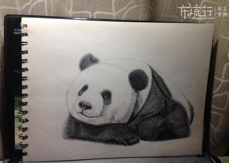 熊猫的绘画-5熊猫耳朵和手臂画法